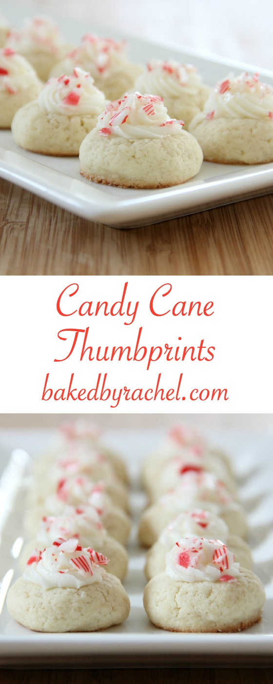 Melt in your mouth buttery candy cane thumbprint cookie recipe from @bakedbyrachel