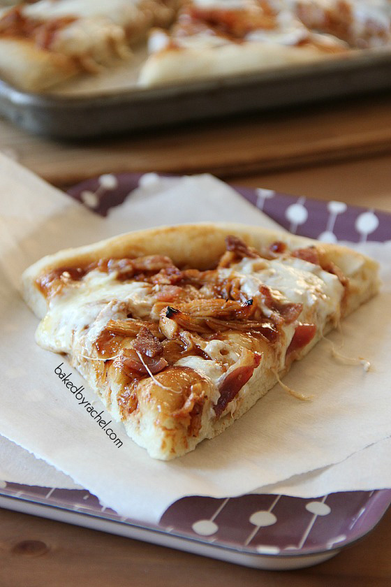 Bacon and Barbecue Chicken Pizza Recipe from bakedbyrachel.com