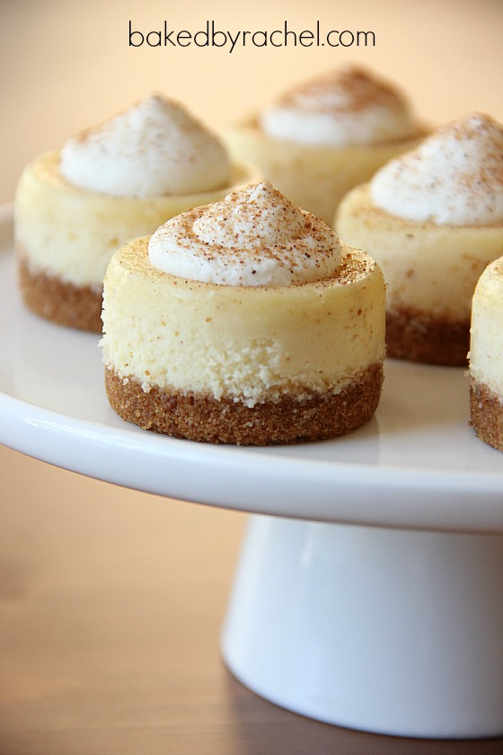Mini Eggnog Cheesecake Recipe from bakedbyrachel.com