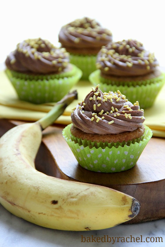 Banana Cupcakes with Chocolate Buttercream Frosting Recipe from bakedbyrachel.com