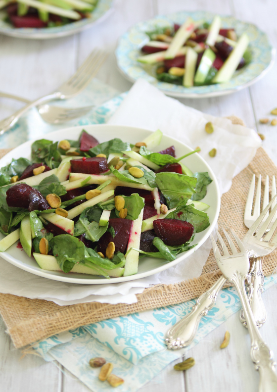 Roasted Beet and Apple Salad Recipe by Running to the Kitchen on bakedbyrachel.com