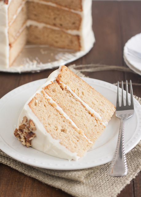Apple-Spice Layer Cake with Goat Cheese Frosting by Tracey's Culinary Adventures on bakedbyrachel.com