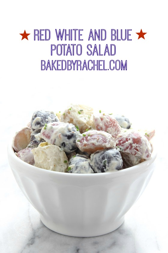 Red white and blue potato salad with a creamy mustard dressing. Recipe from @bakedbyrachel The perfect patriotic side dish!