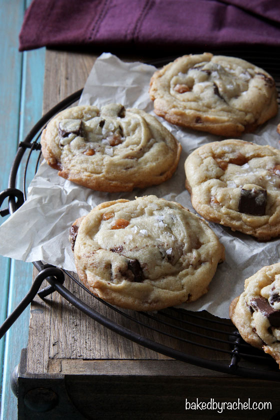 Salted Caramel and Chocolate Chunk Cookies Recipe from @bakedbyrachel