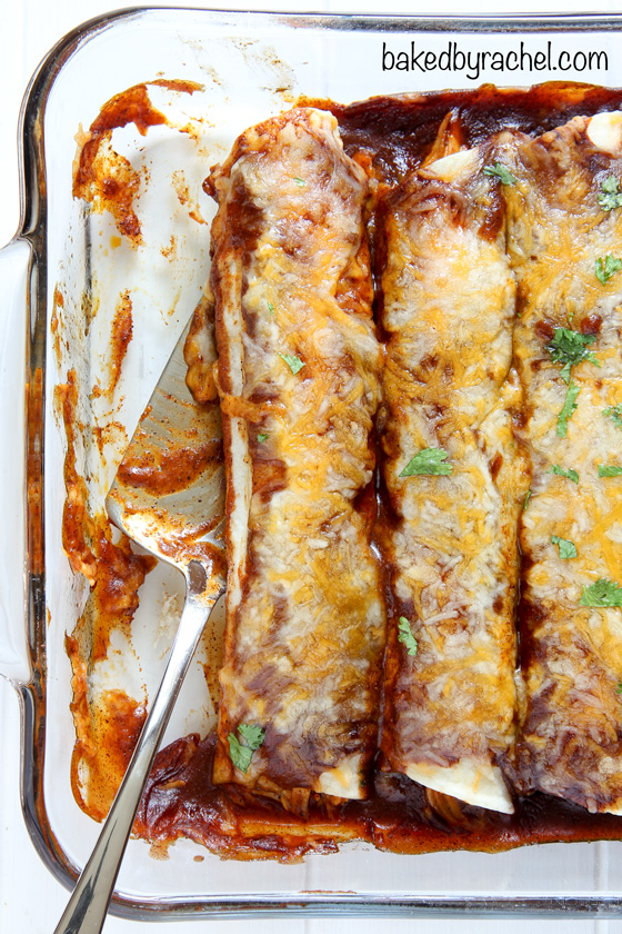 Sweet and spicy barbecue chicken enchiladas with homemade sauce. Recipe from @bakedbyrachel