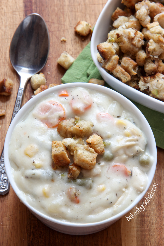 Slow cooker leftover Thanksgiving turkey and mashed potato chowder recipe from @bakedbyrachel