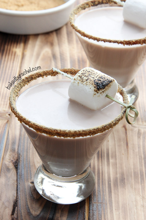 S'more Martini Recipe from @bakedbyrachel A fun adult twist on a classic campfire treat!