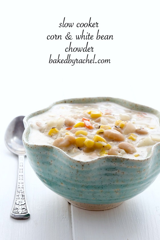 Slow cooker corn and white bean chowder recipe from @bakedbyrachel