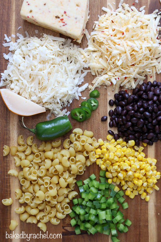 Spicy Southwestern stovetop mac and cheese recipe from @bakedbyrachel