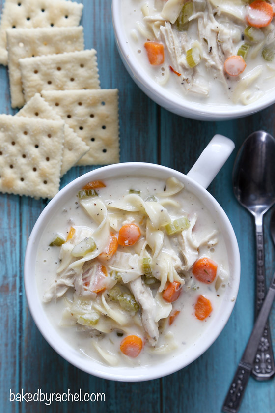 Slow cooker creamy chicken noodle soup recipe from @bakedbyrachel