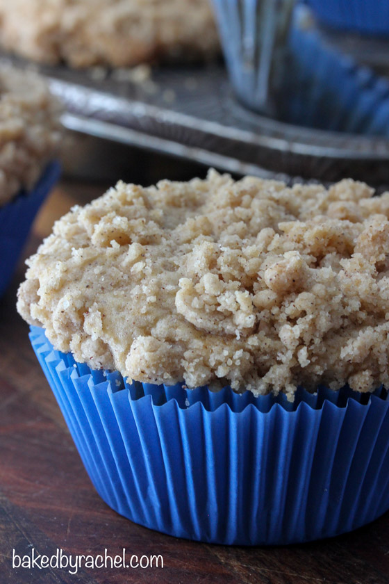 Moist sour cream coffee cake muffins with a crunchy streusel topping. Recipe from @bakedbyrachel