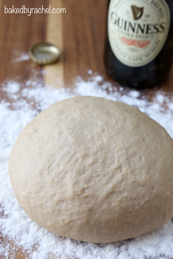 Easy and flavorful homemade Guinness pizza dough recipe from @bakedbyrachel