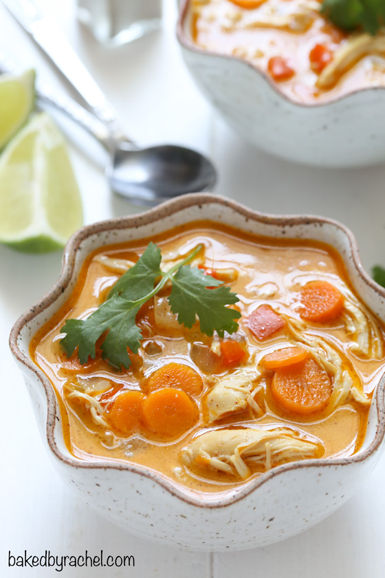 Easy slow cooker coconut lime chicken soup recipe from @bakedbyrachel
