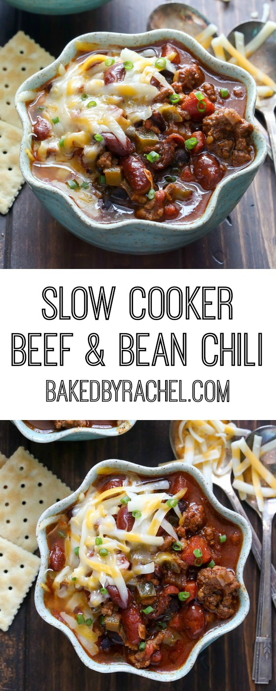 Hearty slow cooker beef and bean chili recipe from @bakedbyrachel