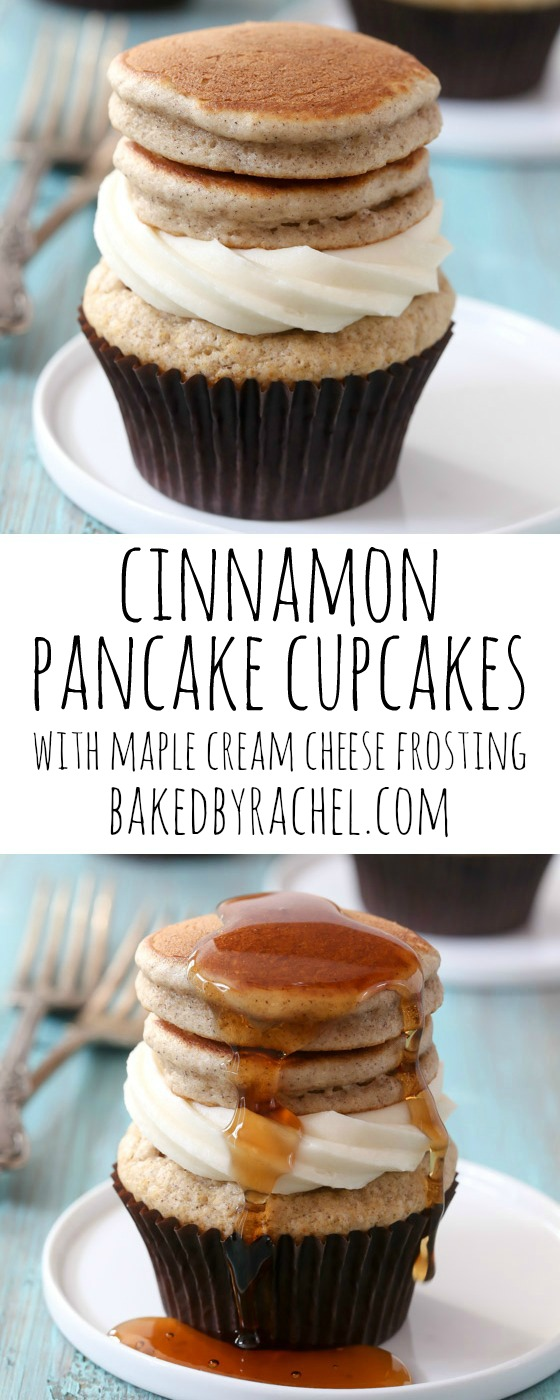 Cinnamon pancake cupcakes with maple cream cheese frosting recipe from @bakedbyrachel