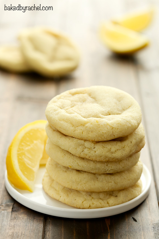 Perfect soft and chewy lemon sugar cookies that stay soft! Recipe from @bakedbyrachel