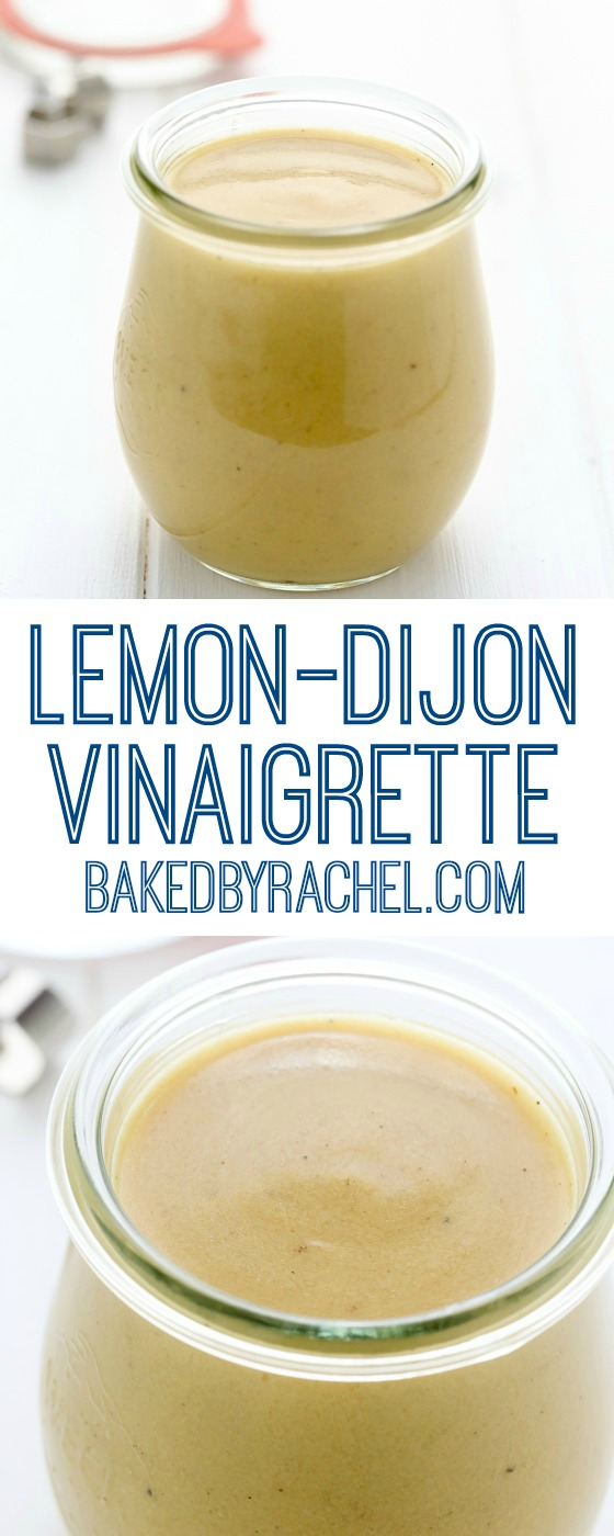 Easy homemade lemon Dijon vinaigrette recipe from @bakedbyrachel A great addition to your favorite salad or used as a simple marinade!