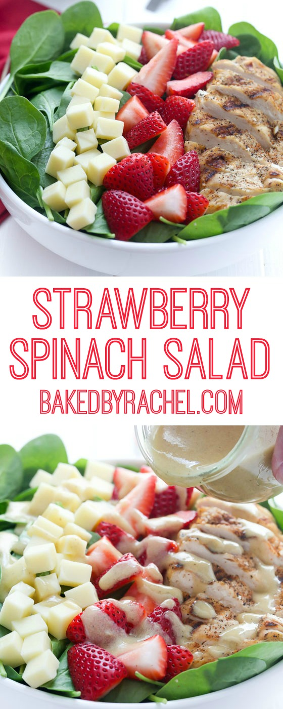Strawberry spinach salad with grilled chicken and homemade vinaigrette. Recipe from @bakedbyrachel