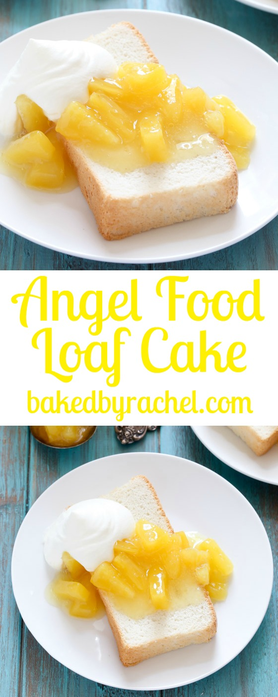 Light and airy angel food loaf cake with pineapple compote and whipped cream. Recipe from @bakedbyrachel