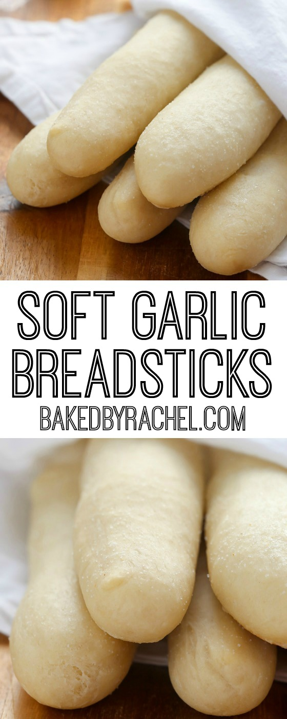 The absolute best soft and fluffy homemade garlic breadstick recipe from @bakedbyrachel