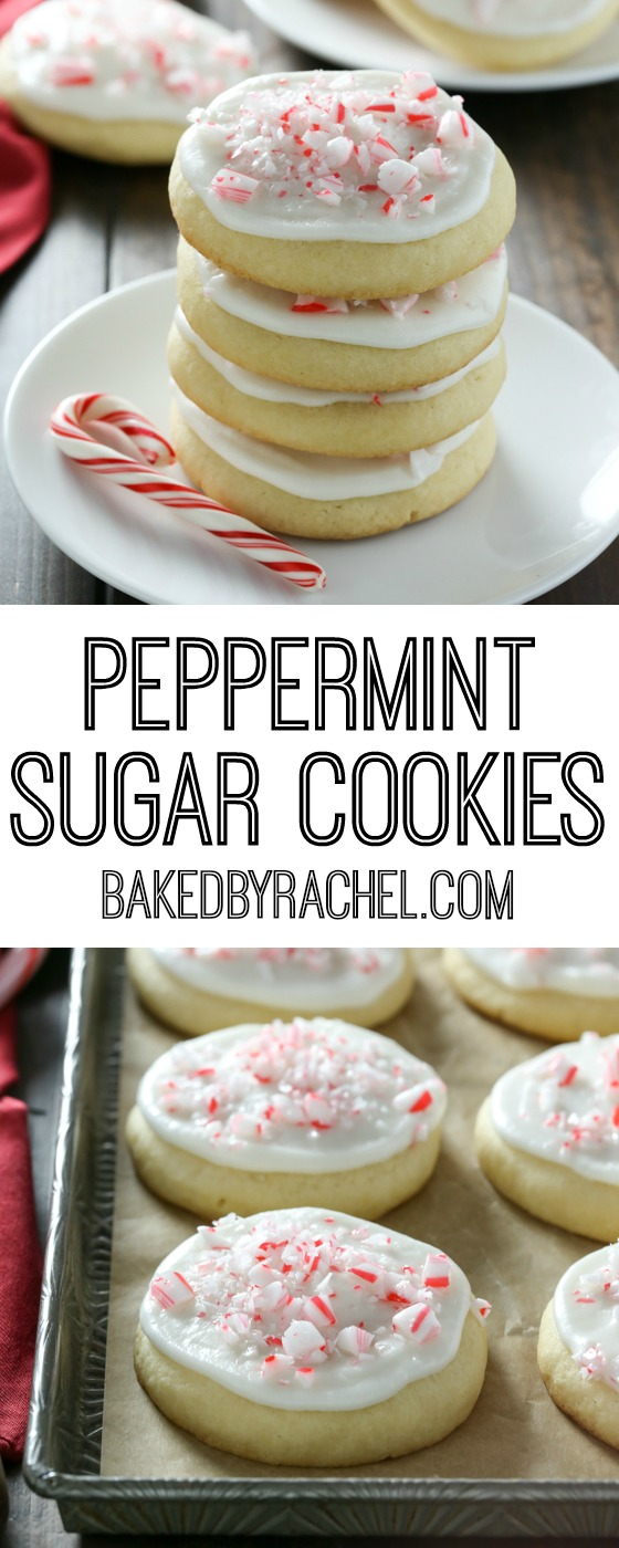 Peppermint frosted soft batch sugar cookie recipe from @bakedbyrachel A Lofthouse style cookie!