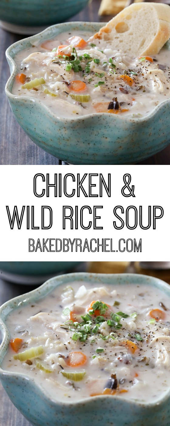 Creamy slow cooker chicken and wild rice soup recipe from @bakedbyrachel