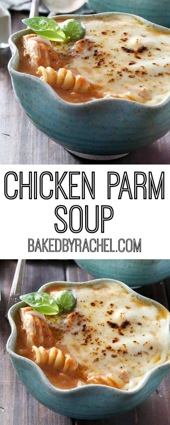 Easy slow cooker chicken parm soup recipe from @bakedbyrachel
