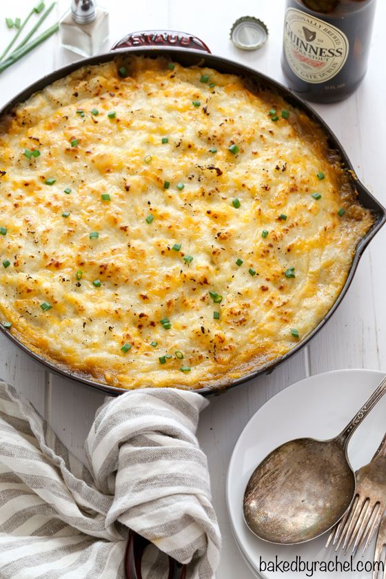 Hearty Guinness beef shepherd's pie recipe from @bakedbyrachel A flavorful meal for St. Patrick's Day or any day!