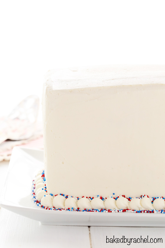 Red, white and blue marble layer cake recipe from @bakedbyrachel A festive dessert for the 4th of July!