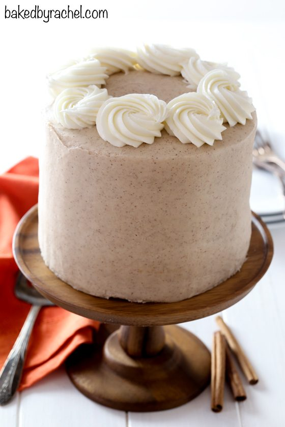 Moist spiced pumpkin layer cake with cinnamon brown sugar cream cheese frosting recipe from @bakedbyrachel