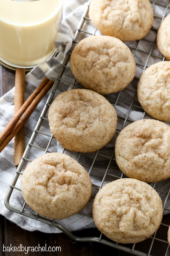 Light and fluffy eggnog snickerdoodle cookie recipe from @bakedbyrachel