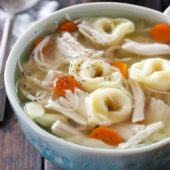 Slow cooker chicken and cheese tortellini soup recipe from @bakedbyrachel