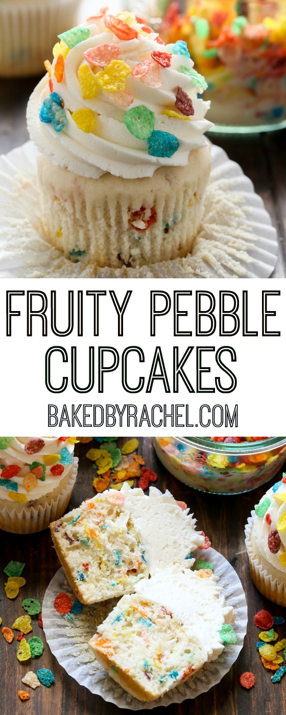 Fruity Pebble funfetti cupcakes with vanilla buttercream frosting recipe from @bakedbyrachel