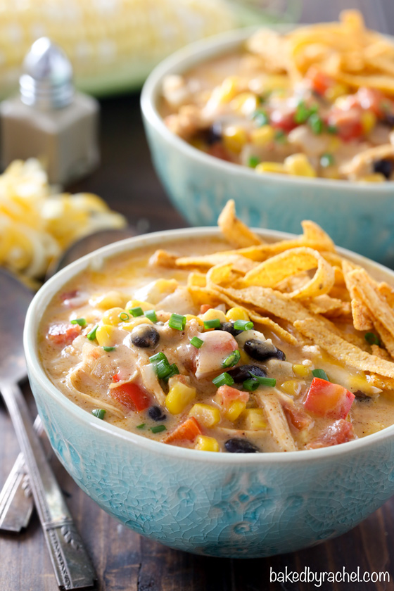 Slow cooker cheesy Mexican chipotle corn chowder recipe from @bakedbyrachel