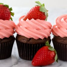 Chocolate cupcakes with strawberry cream cheese frosting recipe from @bakedbyrachel