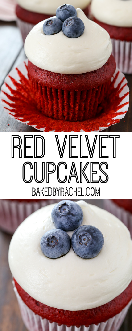 Red velvet 4th of July cupcakes with cream cheese frosting recipe from @bakedbyrachel