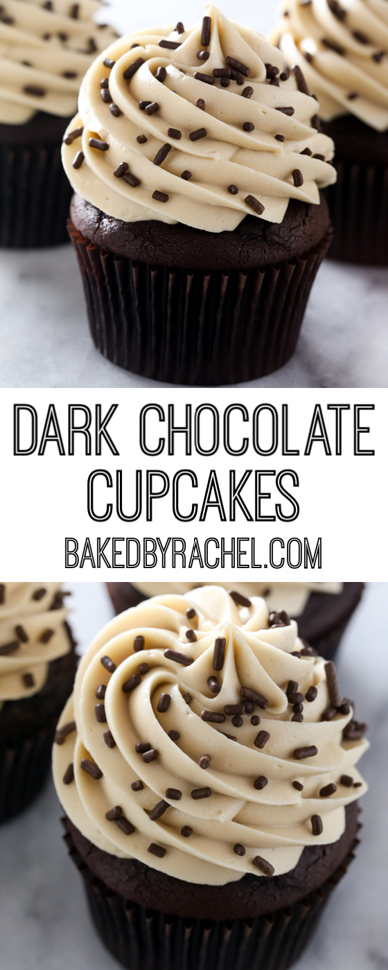 Moist and fluffy homemade dark chocolate cupcakes with coffee cream cheese frosting recipe from @bakedbyrachel
