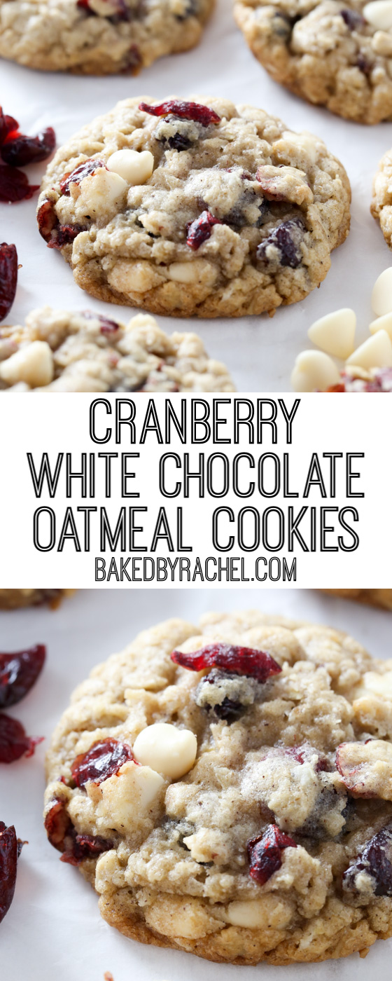 Soft and chewy cranberry white chocolate oatmeal cookie recipe from @bakedbyrachel A perfect treat for the holidays or any time of the year!