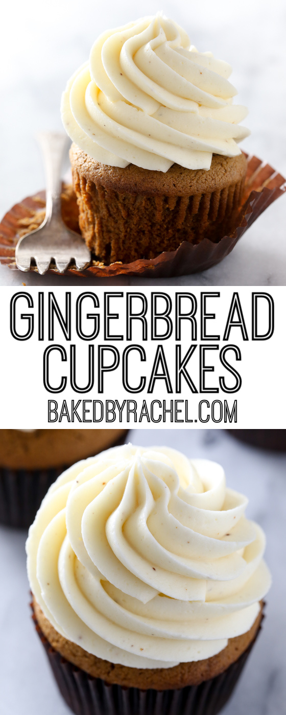 Moist homemade spiced gingerbread cupcakes with sweet and silky eggnog buttercream frosting! A must make holiday treat!