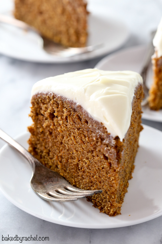 Moist homemade single layer carrot cake with cream cheese frosting recipe from @bakedbyrachel A classic spring dessert, perfect for holiday gatherings or just because!