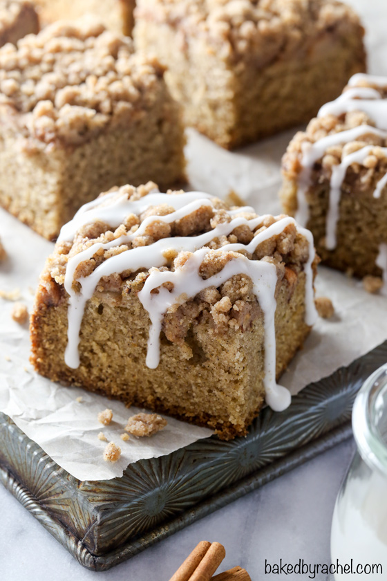 Slices of apple coffee cake with icing drizzle